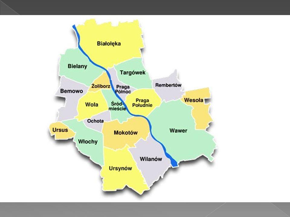 Mapka dzielnic Warszawy