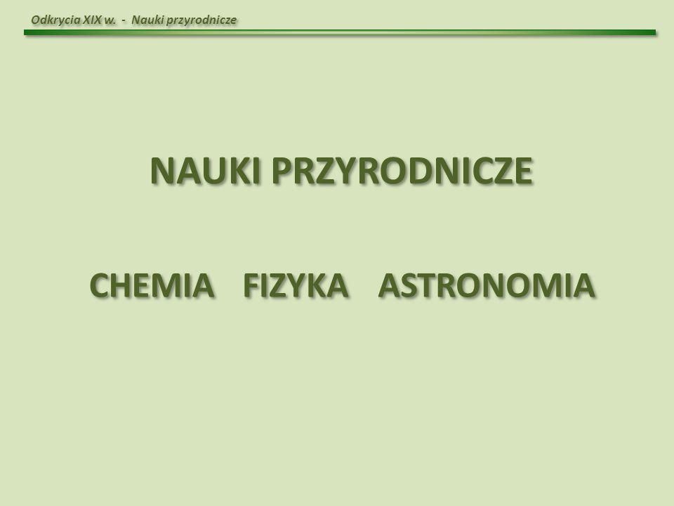 NAUKI PRZYRODNICZE CHEMIA FIZYKA ASTRONOMIA