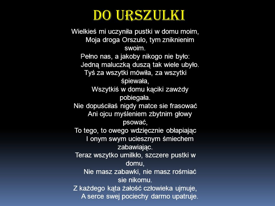Do Urszulki