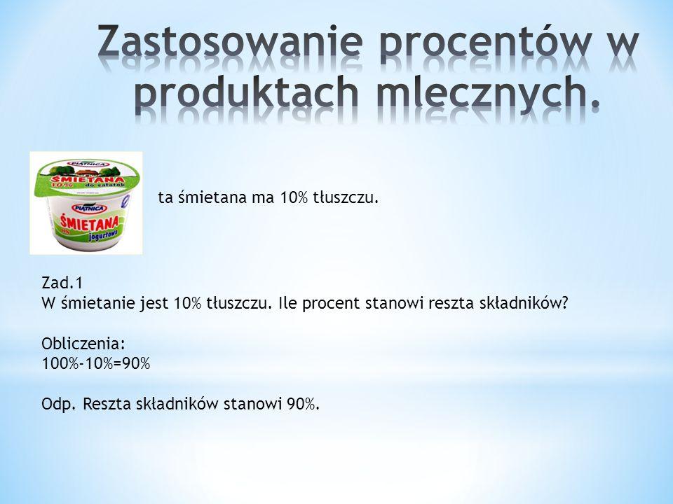 Zastosowanie procentów w produktach mlecznych.