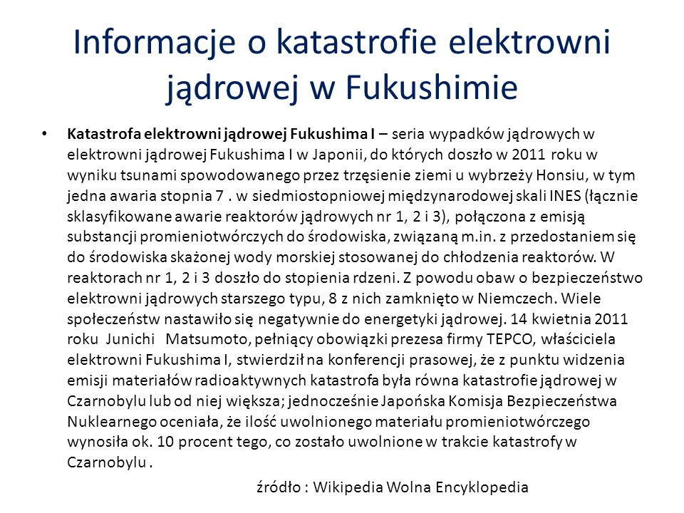 Informacje o katastrofie elektrowni jądrowej w Fukushimie
