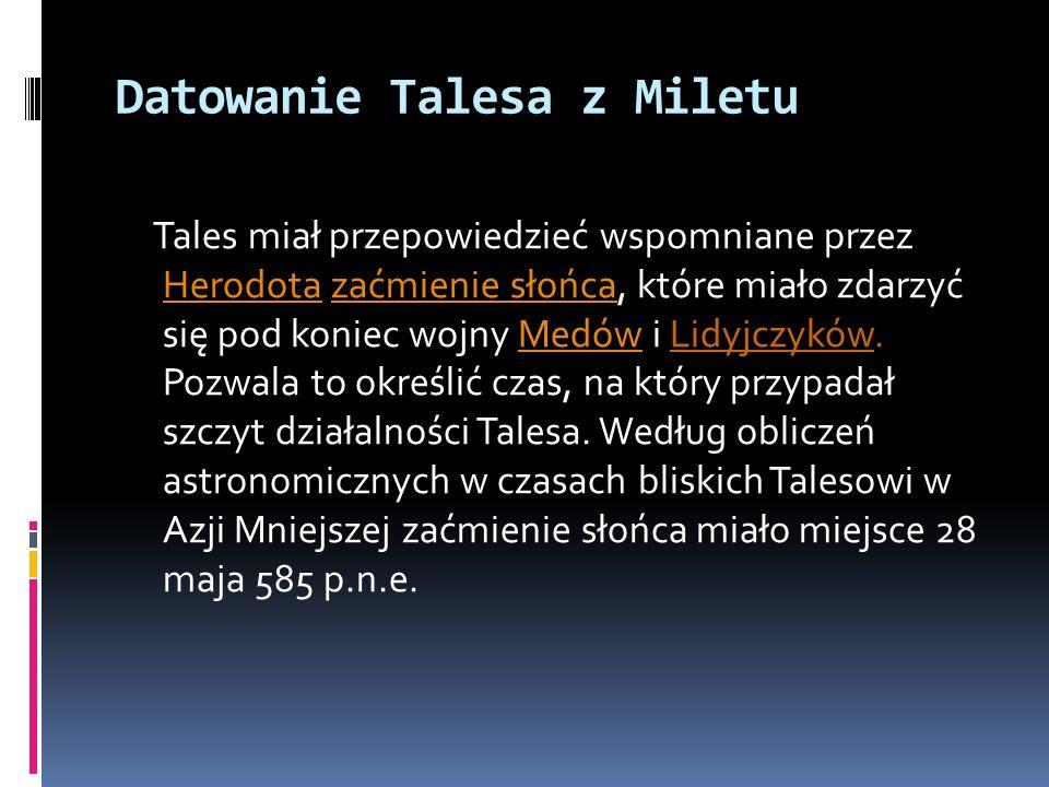 Datowanie Talesa z Miletu
