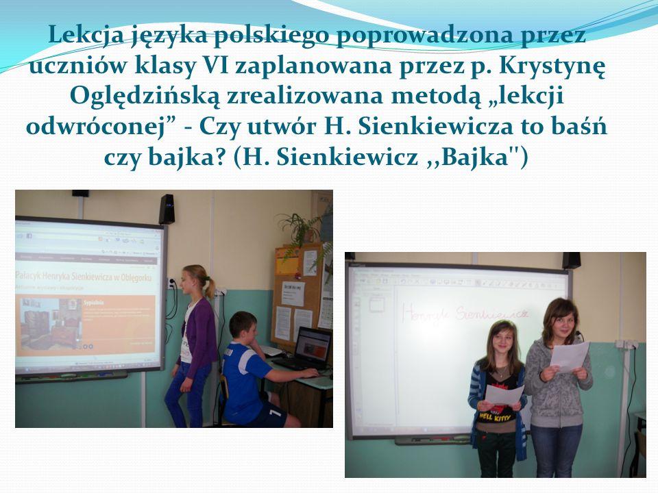 Lekcja języka polskiego poprowadzona przez uczniów klasy VI zaplanowana przez p.