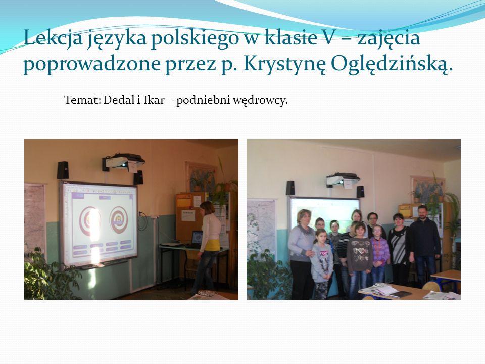 Lekcja języka polskiego w klasie V – zajęcia poprowadzone przez p
