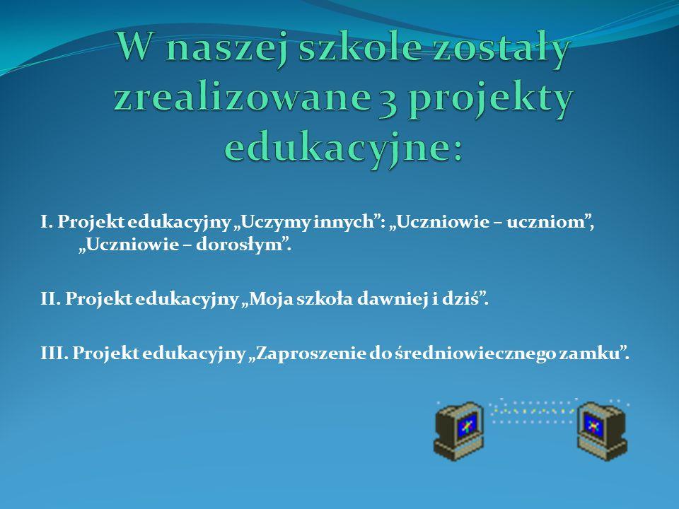 W naszej szkole zostały zrealizowane 3 projekty edukacyjne: