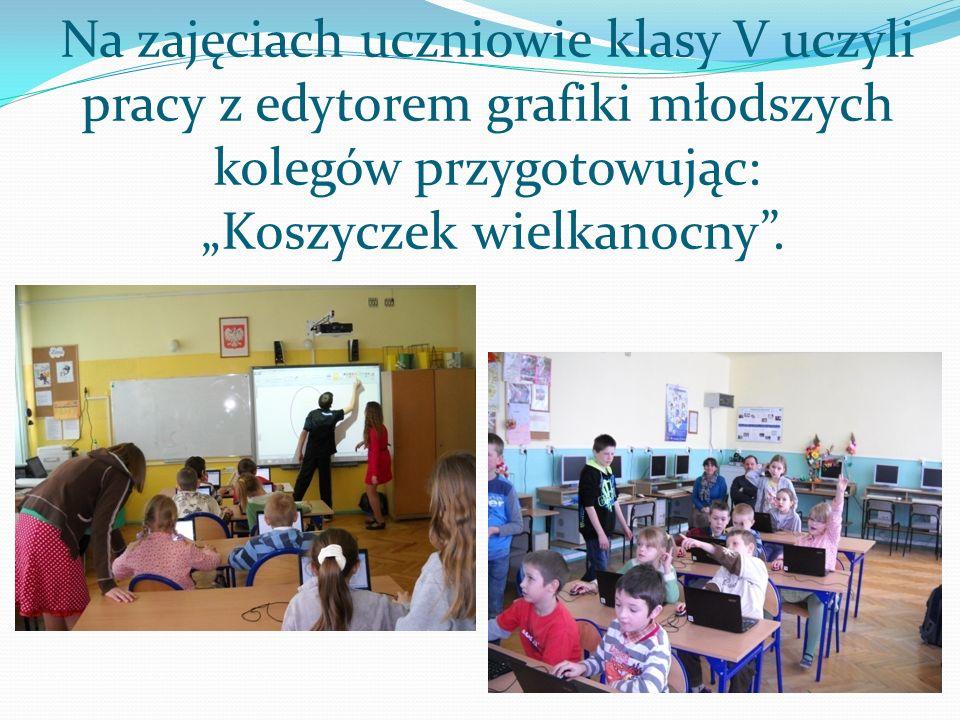 """Na zajęciach uczniowie klasy V uczyli pracy z edytorem grafiki młodszych kolegów przygotowując: """"Koszyczek wielkanocny ."""