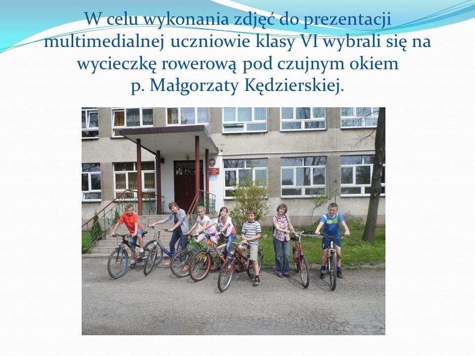 W celu wykonania zdjęć do prezentacji multimedialnej uczniowie klasy VI wybrali się na wycieczkę rowerową pod czujnym okiem p.