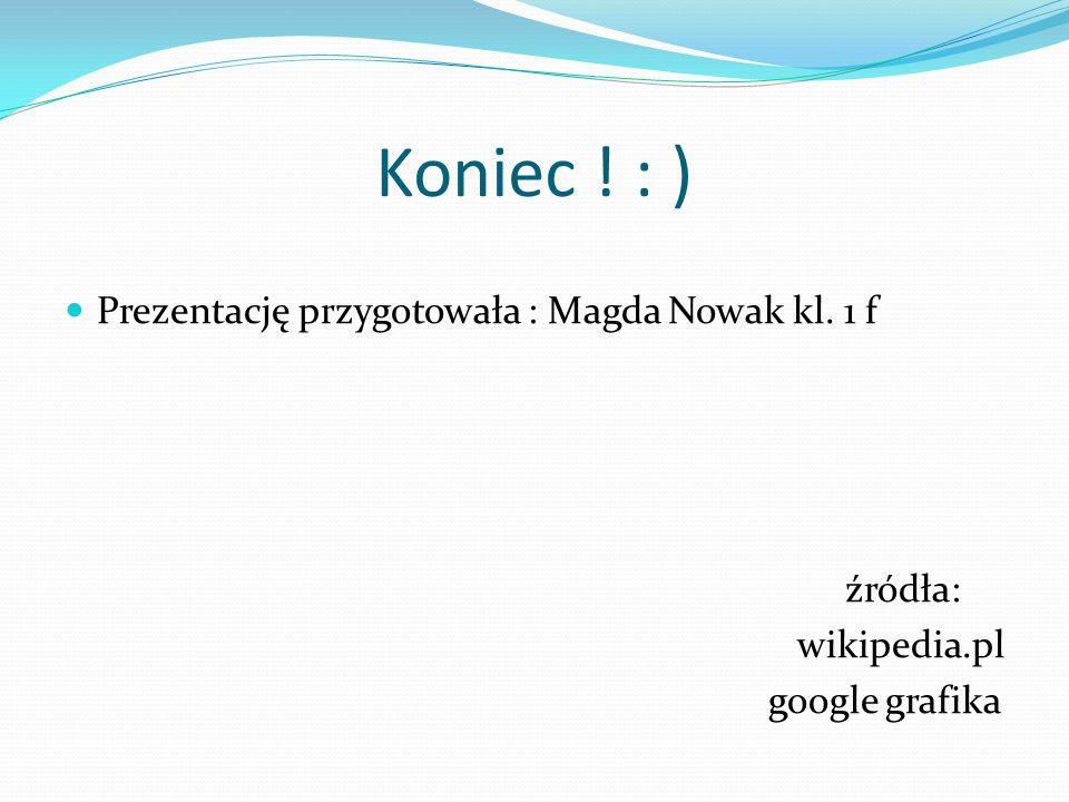 Koniec ! : ) Prezentację przygotowała : Magda Nowak kl. 1 f źródła: