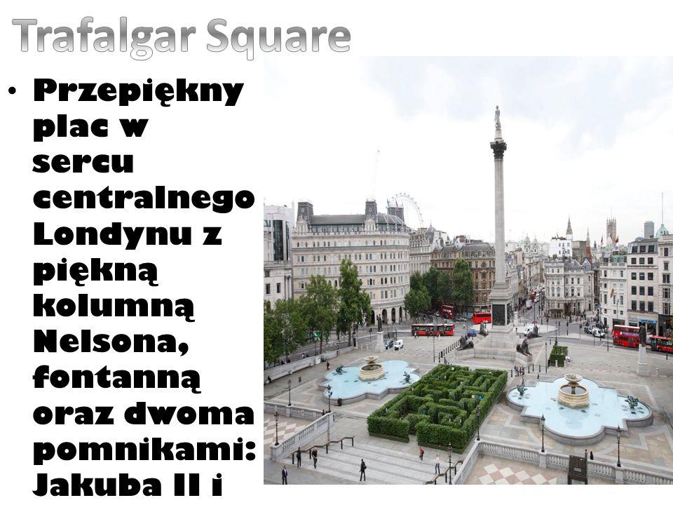 Trafalgar Square Przepiękny plac w sercu centralnego Londynu z piękną kolumną Nelsona, fontanną oraz dwoma pomnikami: Jakuba II i Jerzego IV.
