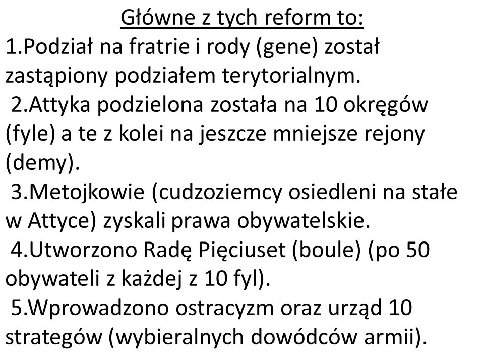 Główne z tych reform to: