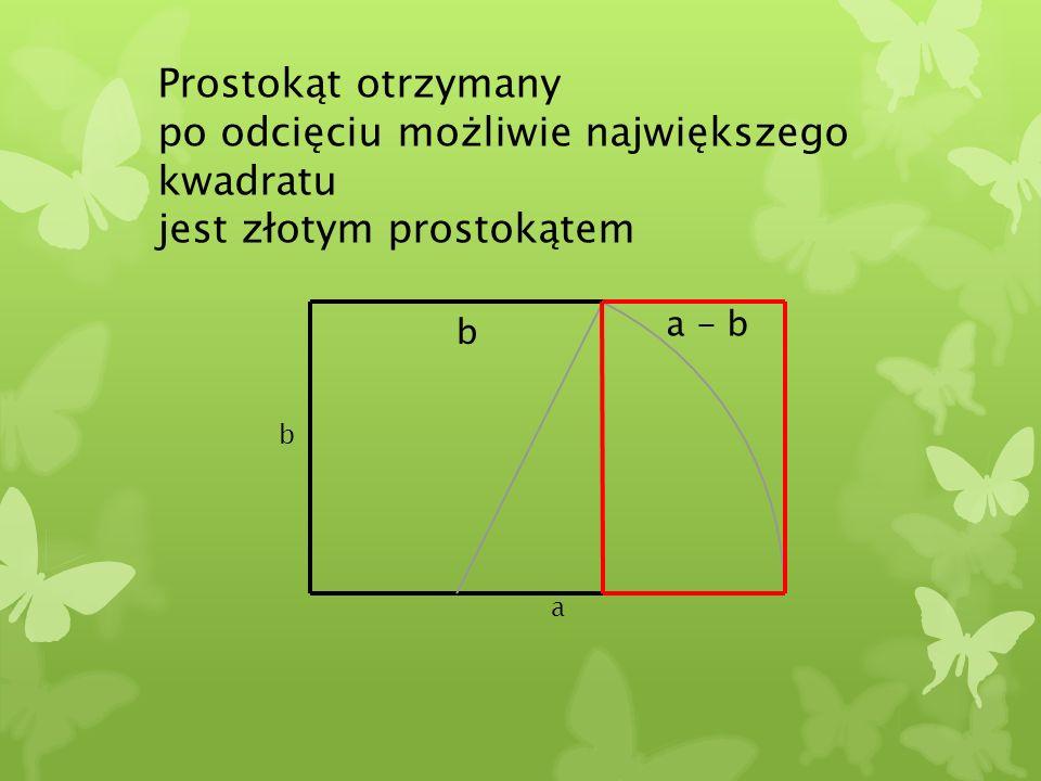 Prostokąt otrzymany po odcięciu możliwie największego kwadratu jest złotym prostokątem