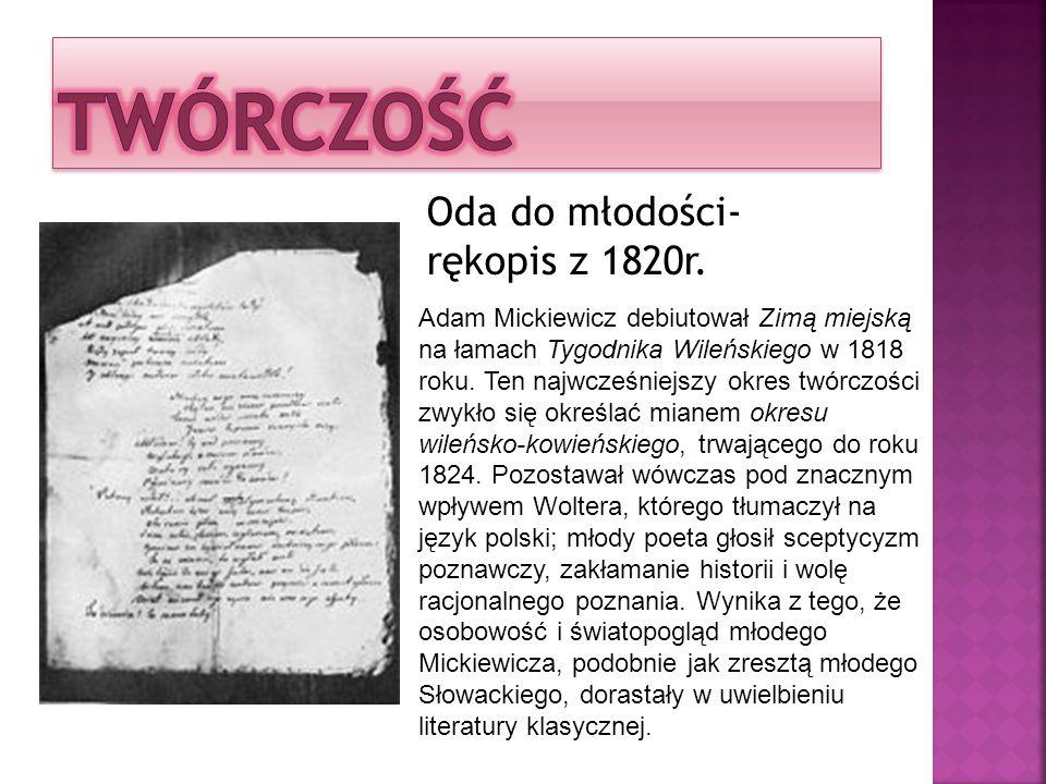 TWÓRCZOŚĆ Oda do młodości-rękopis z 1820r.