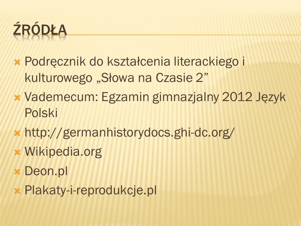 """Źródła Podręcznik do kształcenia literackiego i kulturowego """"Słowa na Czasie 2 Vademecum: Egzamin gimnazjalny 2012 Język Polski."""
