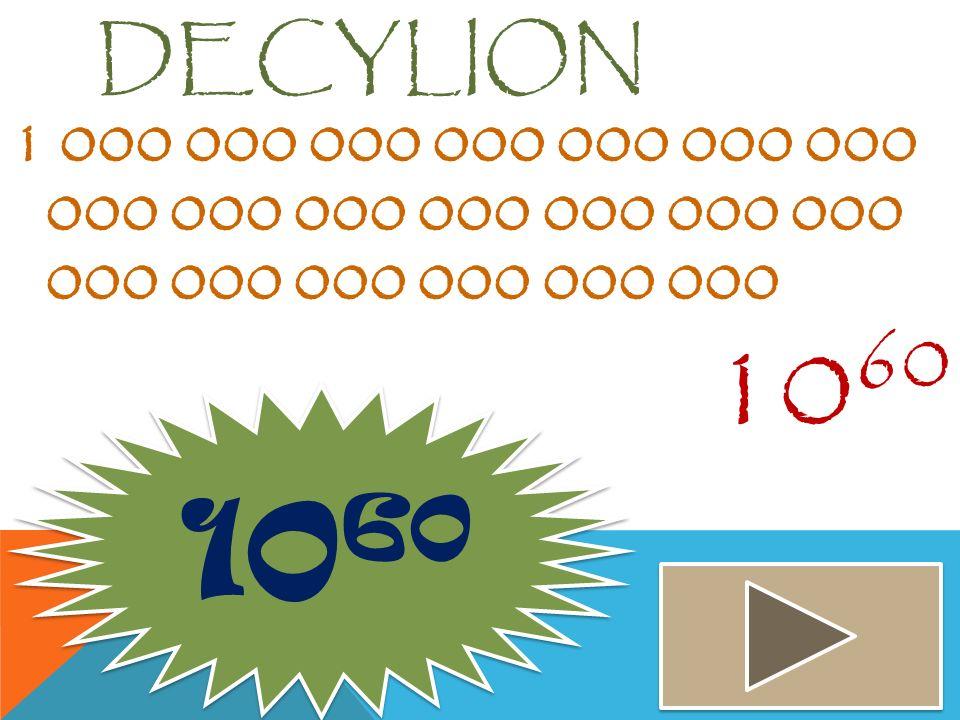 Decylion 1 000 000 000 000 000 000 000 000 000 000 000 000 000 000 000 000 000 000 000 000. 1060.