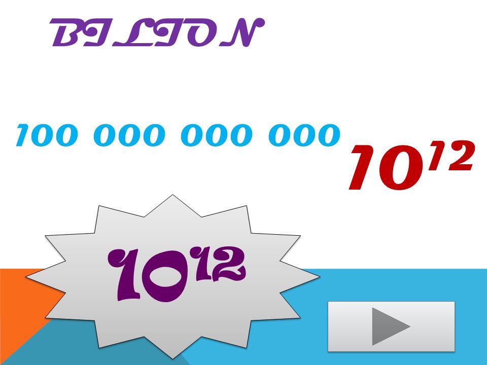 Bilion 100 000 000 000 1012 1012