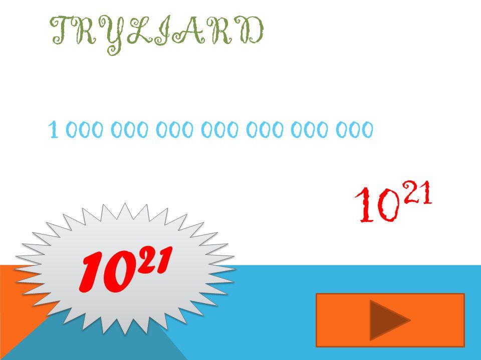 Tryliard 1 000 000 000 000 000 000 000 1021 1021