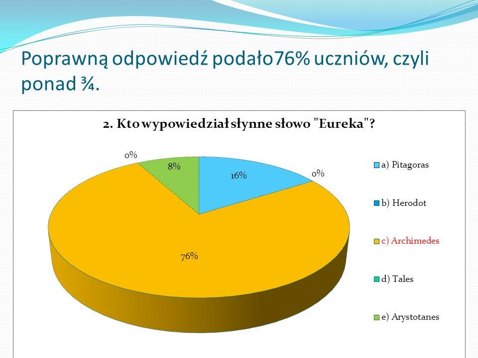 Poprawną odpowiedź podało76% uczniów, czyli ponad ¾.