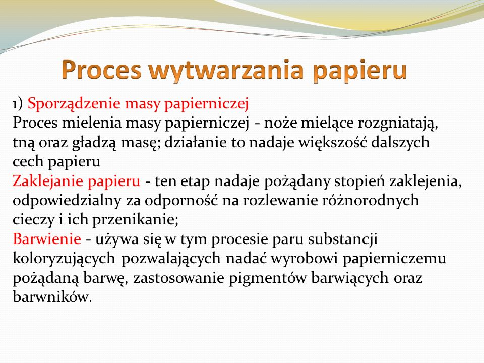 Proces wytwarzania papieru