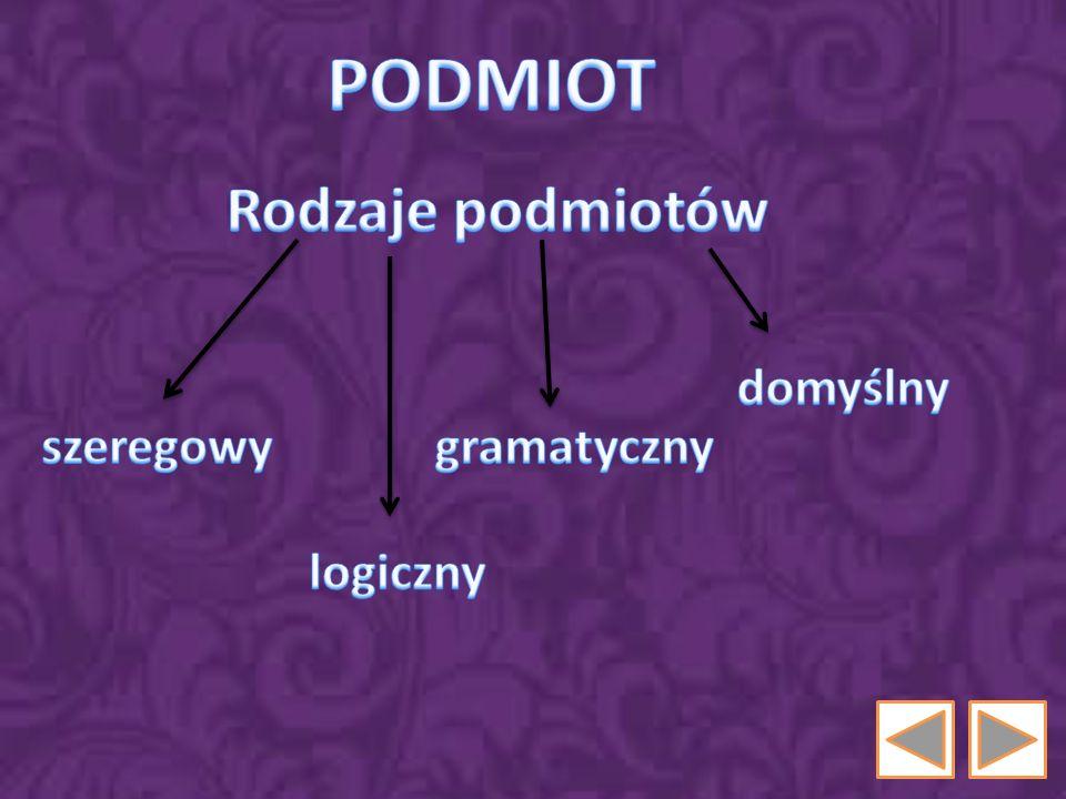 PODMIOT Rodzaje podmiotów domyślny szeregowy gramatyczny logiczny