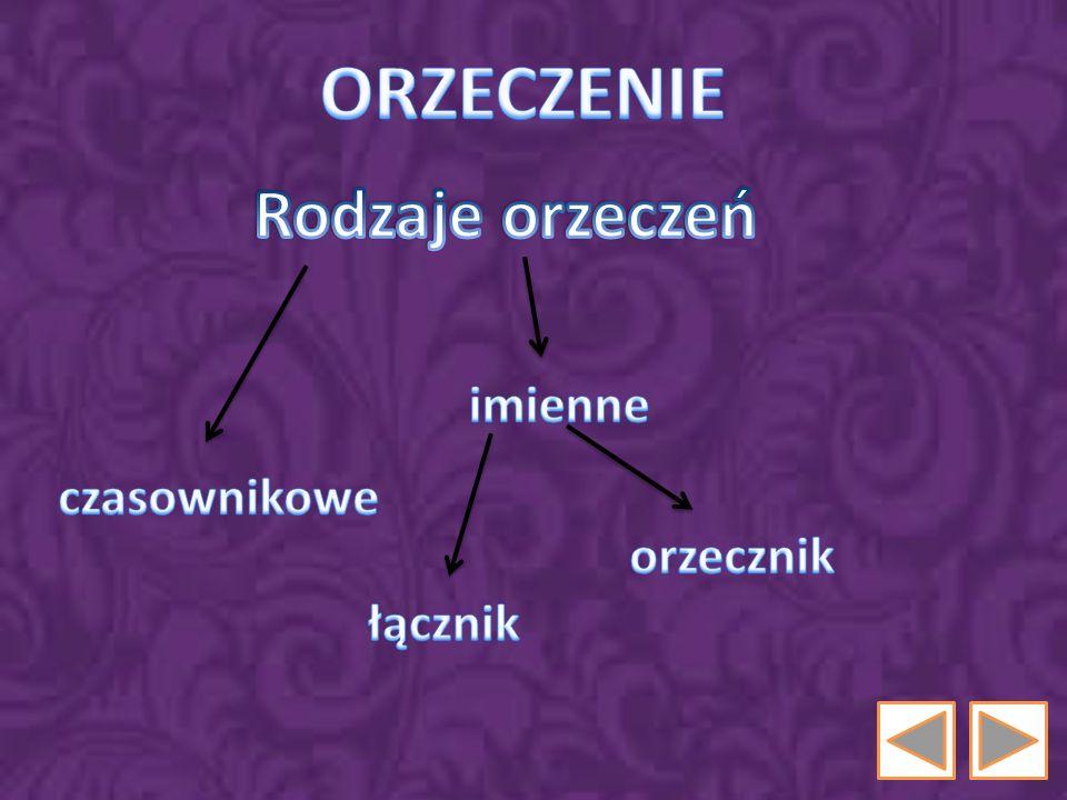 ORZECZENIE Rodzaje orzeczeń imienne czasownikowe orzecznik łącznik