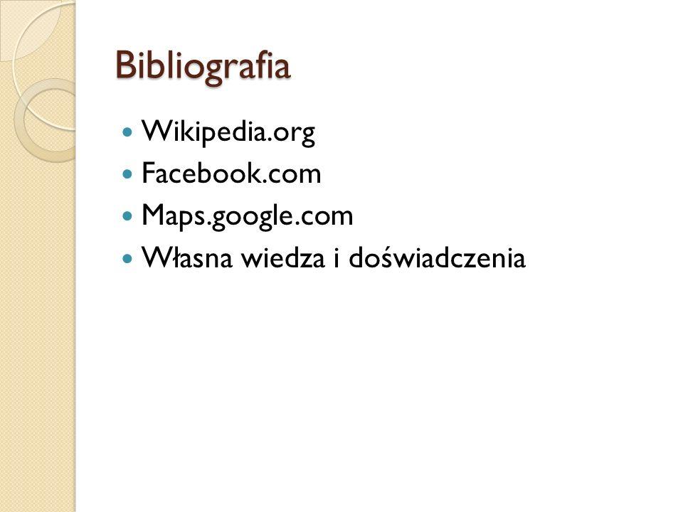 Bibliografia Wikipedia.org Facebook.com Maps.google.com