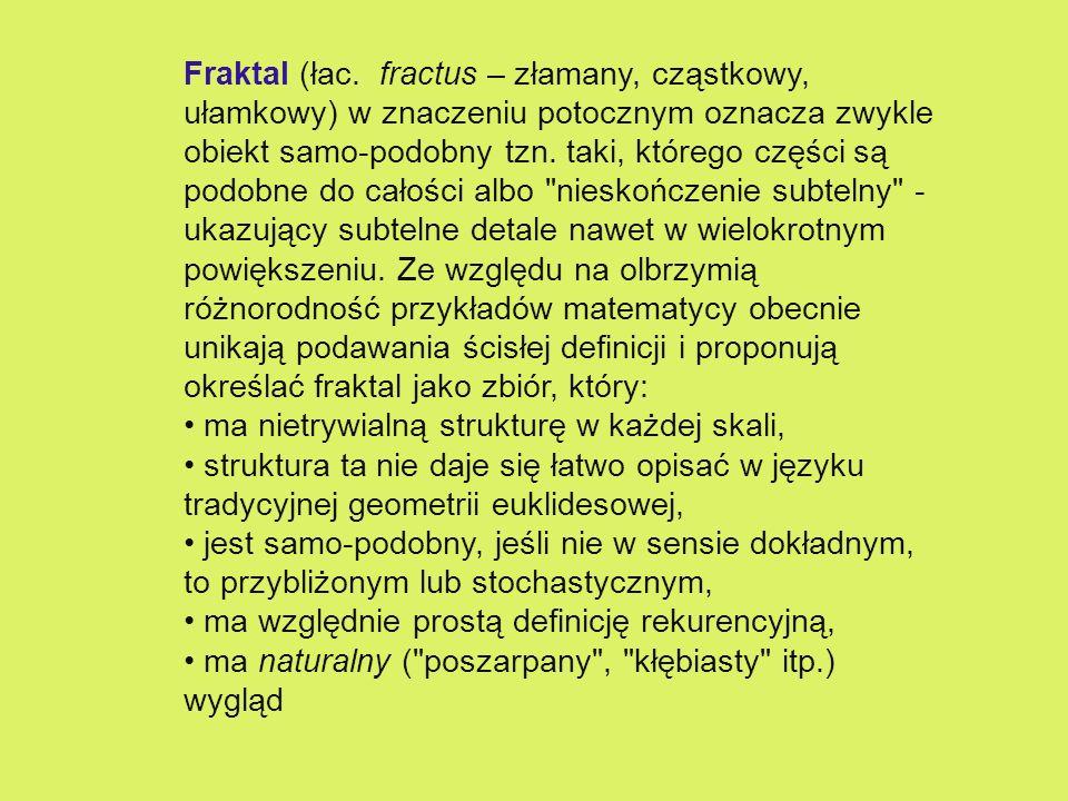 Fraktal (łac. fractus – złamany, cząstkowy, ułamkowy) w znaczeniu potocznym oznacza zwykle obiekt samo-podobny tzn. taki, którego części są podobne do całości albo nieskończenie subtelny - ukazujący subtelne detale nawet w wielokrotnym powiększeniu. Ze względu na olbrzymią różnorodność przykładów matematycy obecnie unikają podawania ścisłej definicji i proponują określać fraktal jako zbiór, który:
