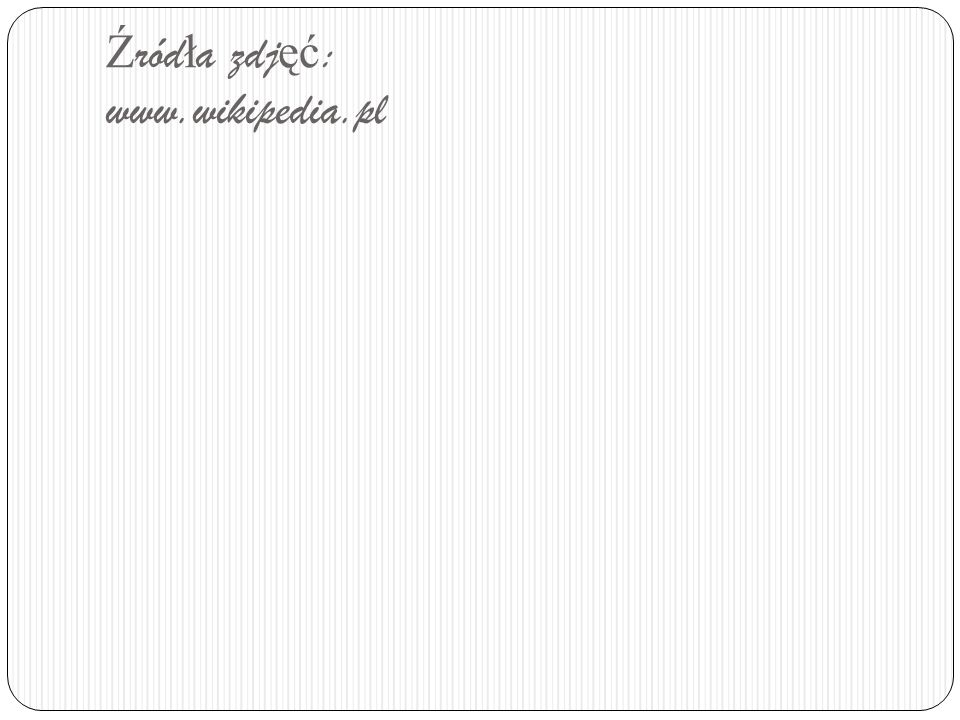 Źródła zdjęć: www.wikipedia.pl