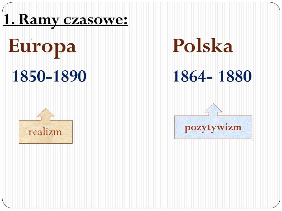 Europa Polska 1850-1890 1864- 1880 1. Ramy czasowe: realizm pozytywizm