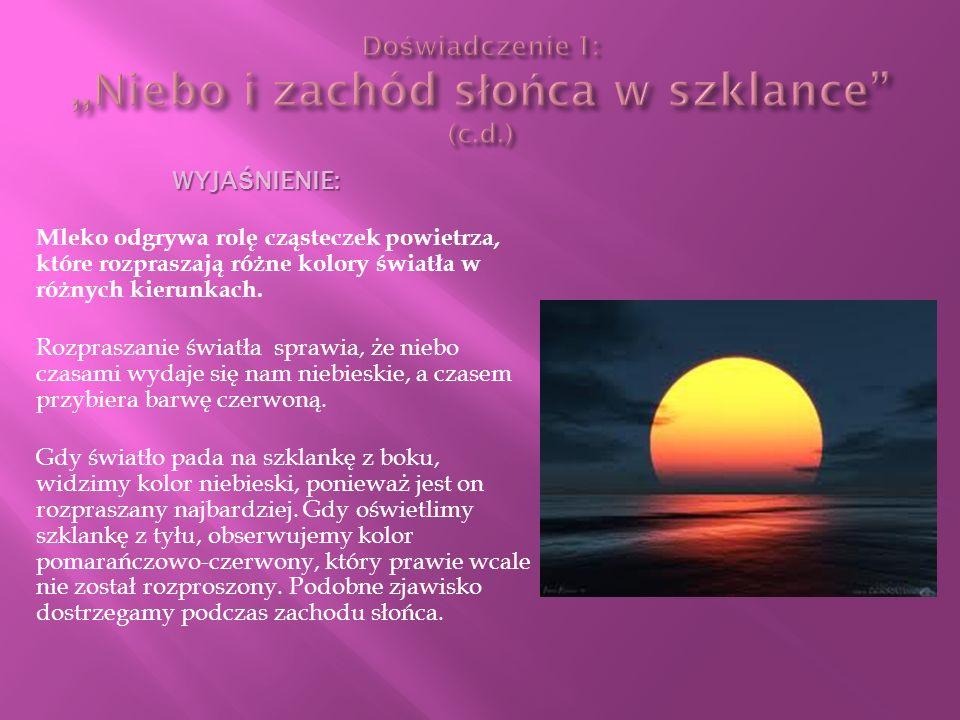 Doświadczenie 1: ,,Niebo i zachód słońca w szklance (c.d.)
