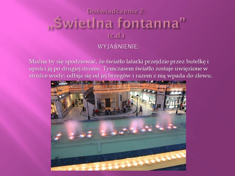 Doświadczenie 2: ,,Świetlna fontanna (c.d.)