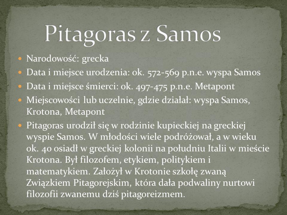 Pitagoras z Samos Narodowość: grecka