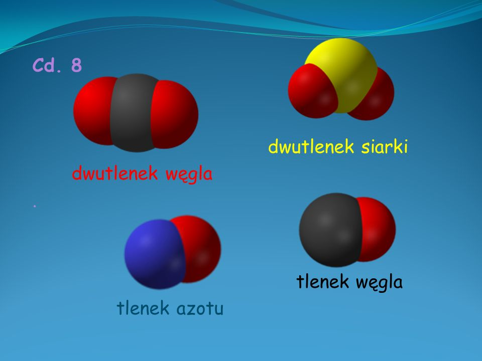 Cd. 8 dwutlenek siarki dwutlenek węgla . tlenek węgla tlenek azotu