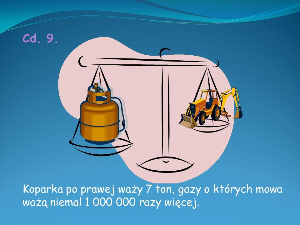 Cd. 9. Koparka po prawej waży 7 ton, gazy o których mowa ważą niemal 1 000 000 razy więcej.