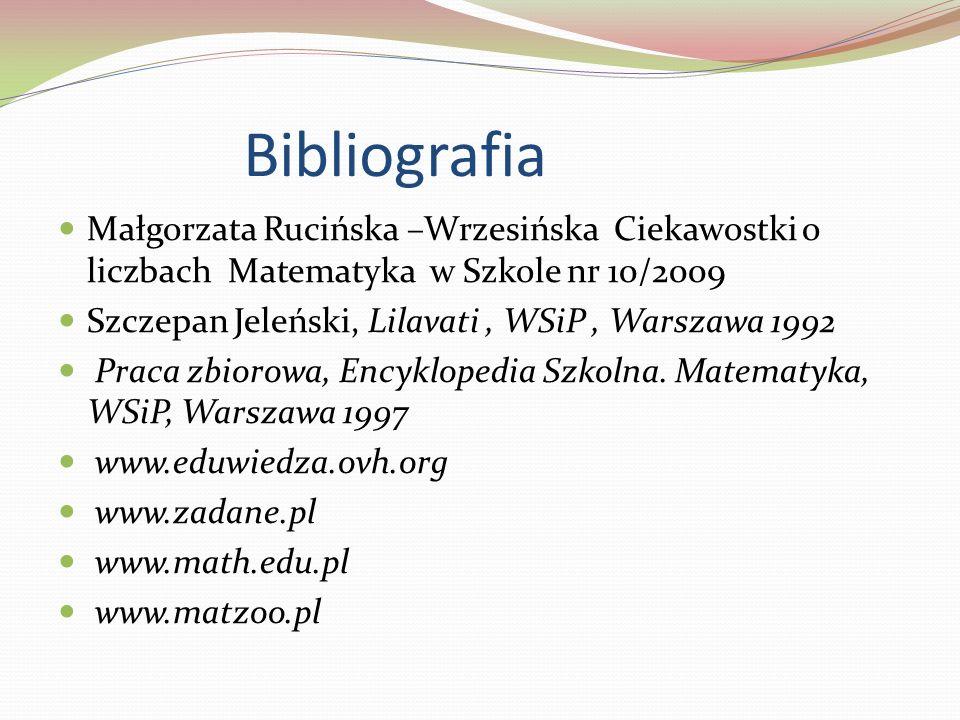 Bibliografia Małgorzata Rucińska –Wrzesińska Ciekawostki o liczbach Matematyka w Szkole nr 10/2009.