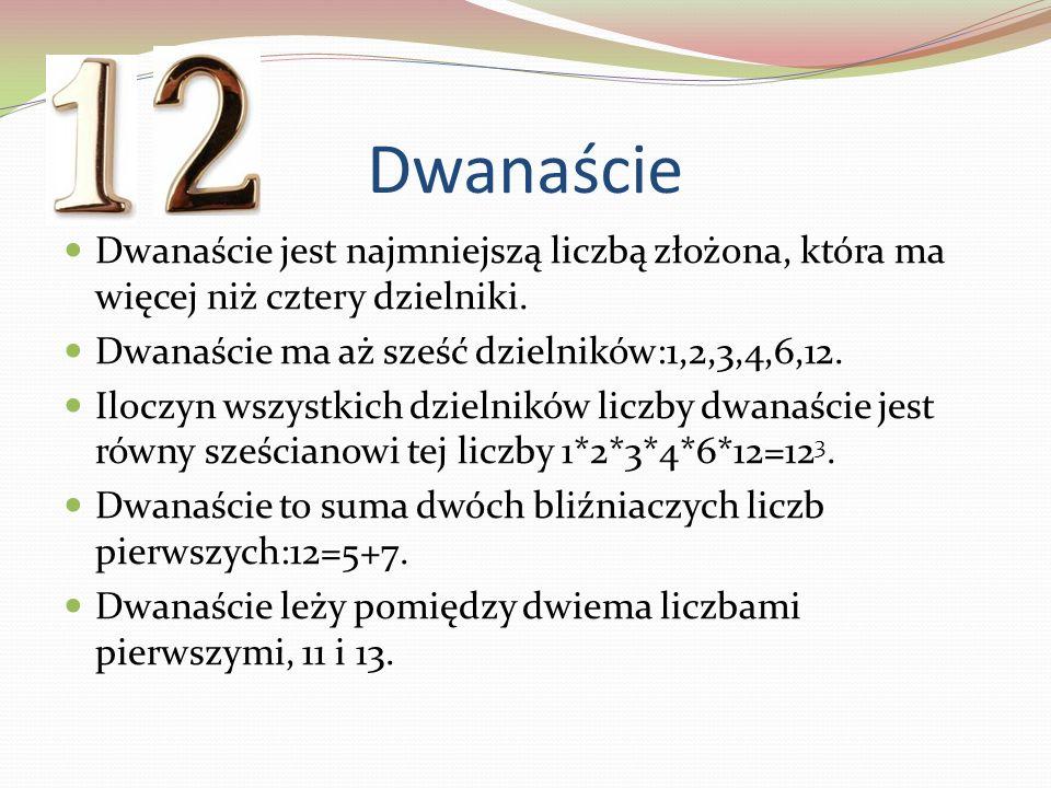 Dwanaście Dwanaście jest najmniejszą liczbą złożona, która ma więcej niż cztery dzielniki. Dwanaście ma aż sześć dzielników:1,2,3,4,6,12.