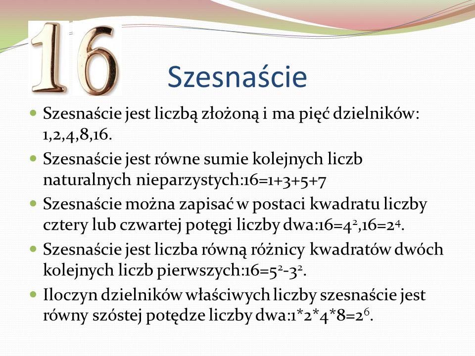 Szesnaście Szesnaście jest liczbą złożoną i ma pięć dzielników: 1,2,4,8,16.