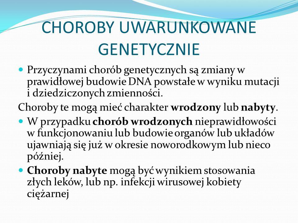 CHOROBY UWARUNKOWANE GENETYCZNIE