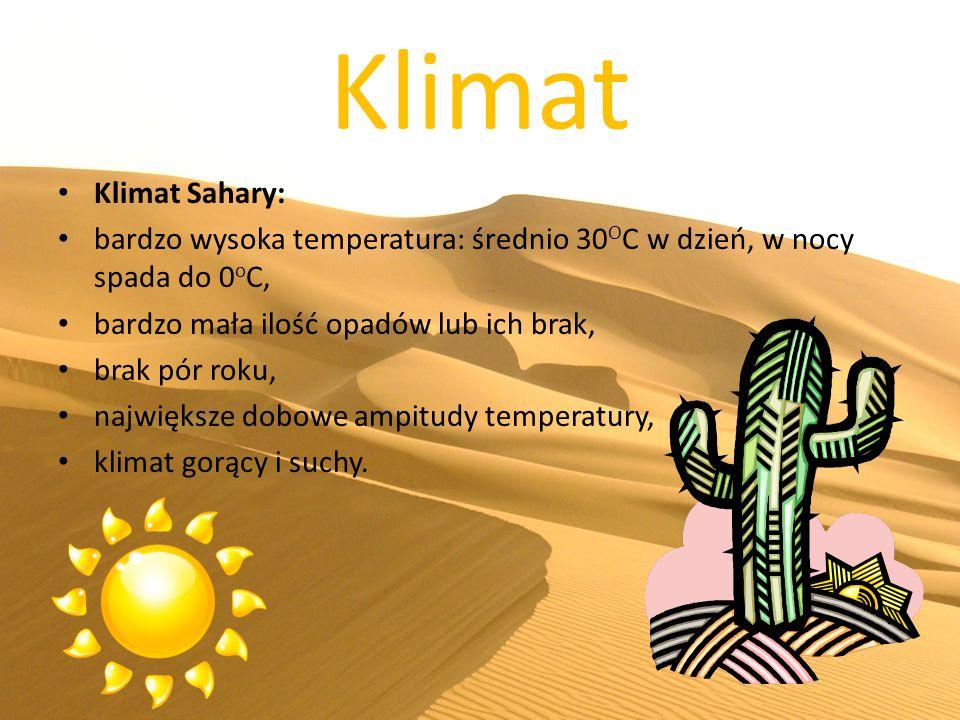 Klimat Klimat Sahary: bardzo wysoka temperatura: średnio 30OC w dzień, w nocy spada do 0oC, bardzo mała ilość opadów lub ich brak,