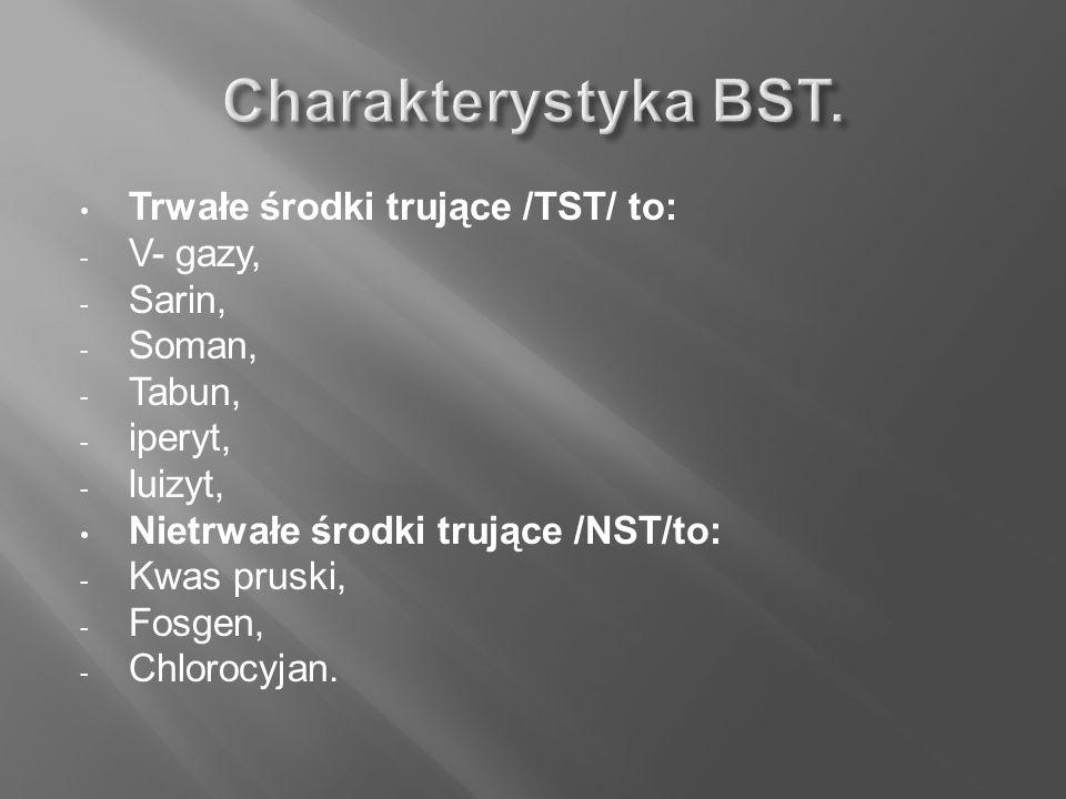Charakterystyka BST. Trwałe środki trujące /TST/ to: V- gazy, Sarin,