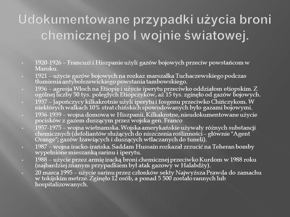 Udokumentowane przypadki użycia broni chemicznej po I wojnie światowej.