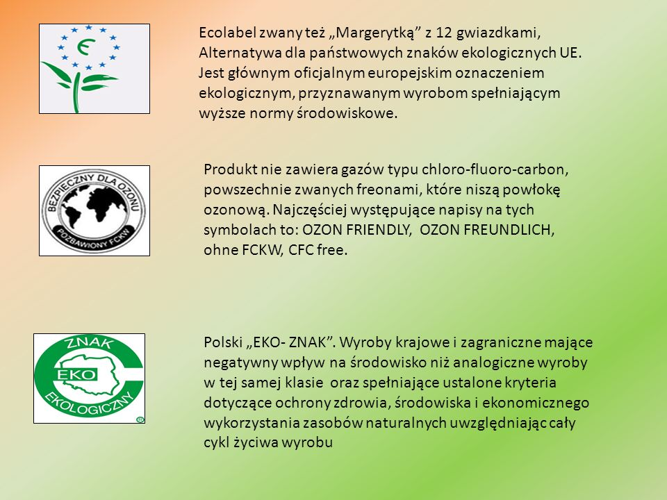 """Ecolabel zwany też """"Margerytką z 12 gwiazdkami, Alternatywa dla państwowych znaków ekologicznych UE. Jest głównym oficjalnym europejskim oznaczeniem ekologicznym, przyznawanym wyrobom spełniającym wyższe normy środowiskowe."""