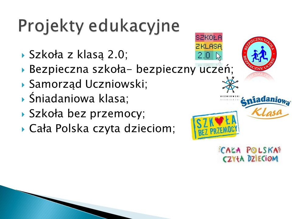Projekty edukacyjne Szkoła z klasą 2.0;