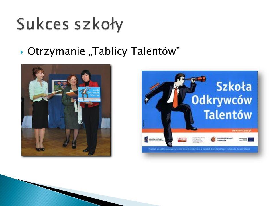 """Sukces szkoły Otrzymanie """"Tablicy Talentów"""
