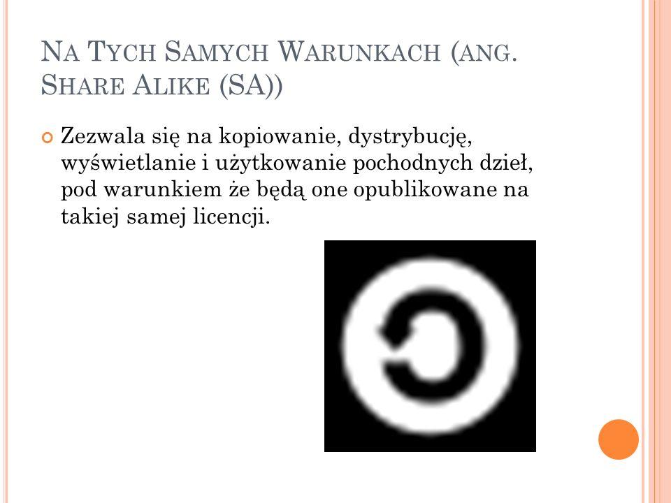 Na Tych Samych Warunkach (ang. Share Alike (SA))