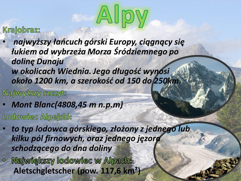 Alpy Największy lodowiec w Alpach: Aletschgletscher (pow. 117,6 km²)