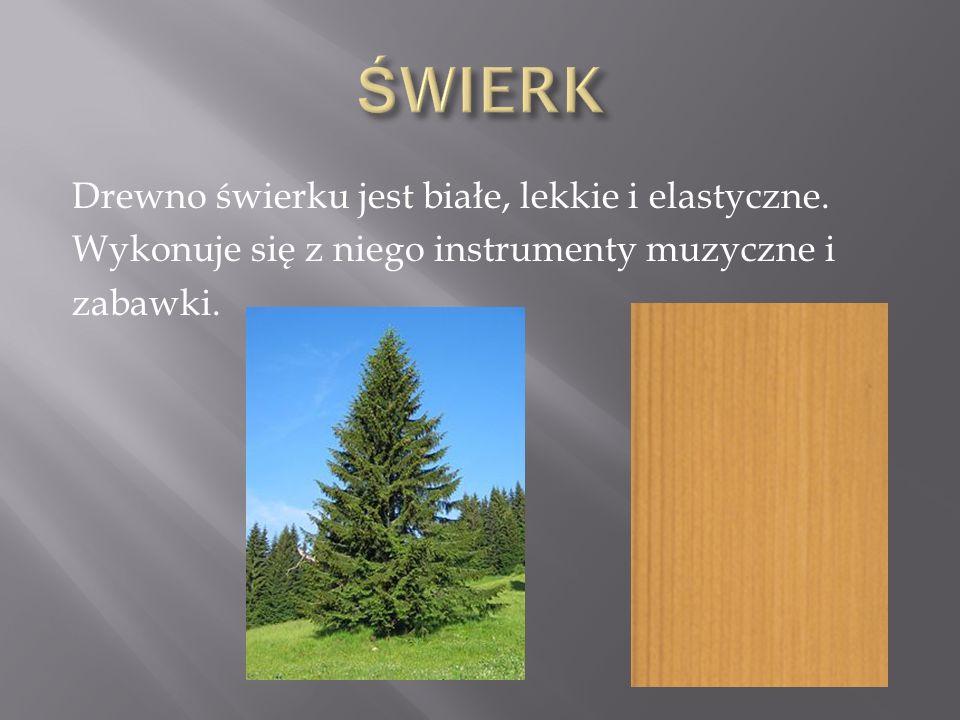 ŚWIERK Drewno świerku jest białe, lekkie i elastyczne.