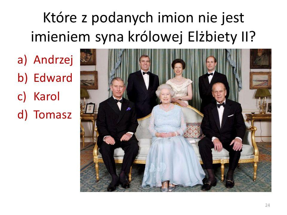 Które z podanych imion nie jest imieniem syna królowej Elżbiety II