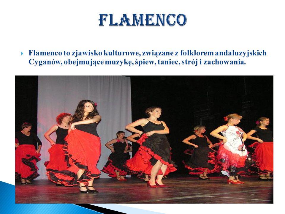 FlamencoFlamenco to zjawisko kulturowe, związane z folklorem andaluzyjskich Cyganów, obejmujące muzykę, śpiew, taniec, strój i zachowania.