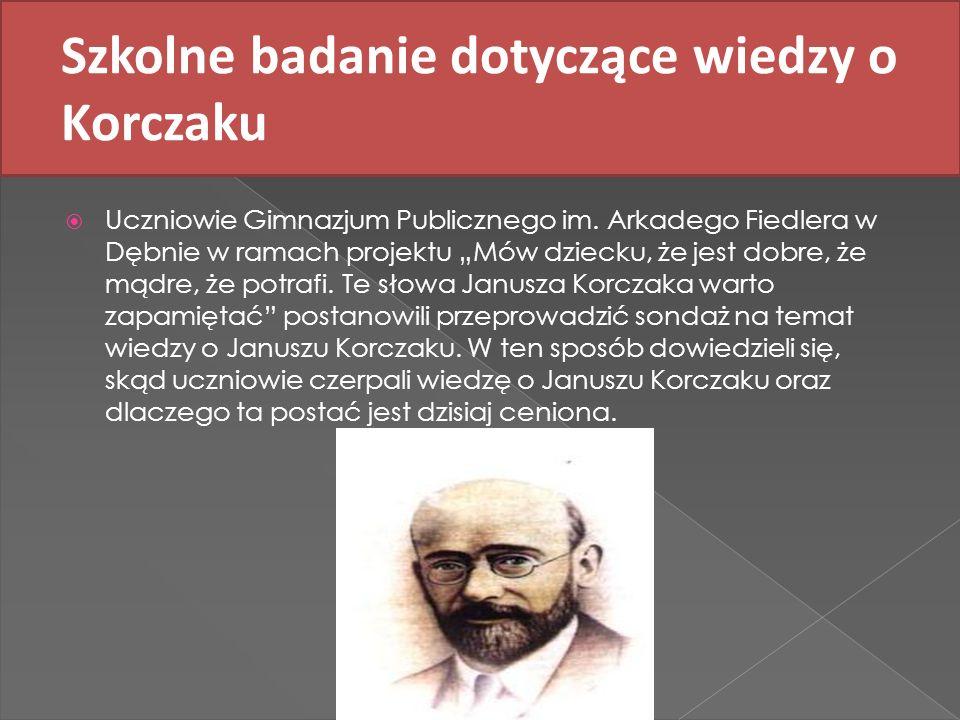 Szkolne badanie dotyczące wiedzy o Korczaku