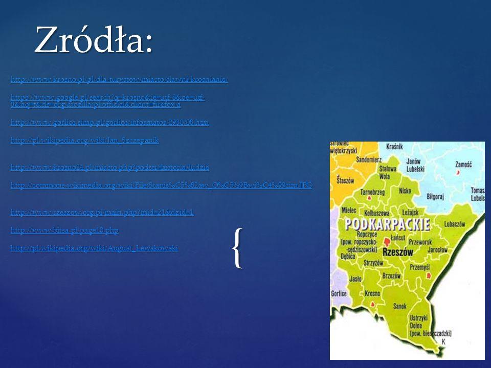 Zródła: http://www.krosno.pl/pl/dla-turystow/miasto/slawni-krosnianie/
